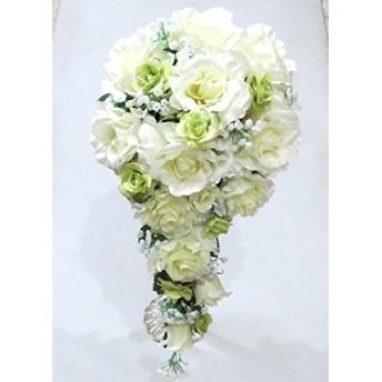 造花 ウエディングブーケ/白バラ&かすみ草キャスケード(グリーンミニバラ入り)