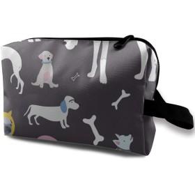 色々な犬 骨 化粧バッグ 収納袋 女大容量 化粧品クラッチバッグ 収納 軽量 ウィンドジップ