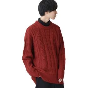 (モノマート) MONO-MART ビッグシルエット アラン編み クルーネック ケーブル ニット セーター BIG メンズ テラコッタ フリーサイズ