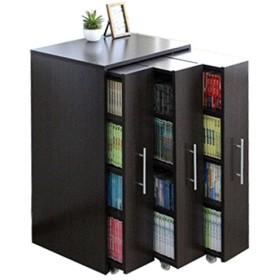 本棚 スライド スライド本棚 すきま 収納 隙間収納 スリムラック 3連 ロータイプ 本棚 3列 薄型 コミック収納 キャスター付き ダークブラウン