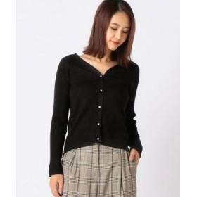(MEW'S REFINED CLOTHES/ミューズ リファインド クローズ)Vリブラメカーディガン/レディース クロ
