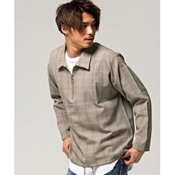 (SILVER BULLET/シルバーバレット)VICCI【ビッチ】グレンチェック柄ハーフジップシャツ/メンズ ブラウン