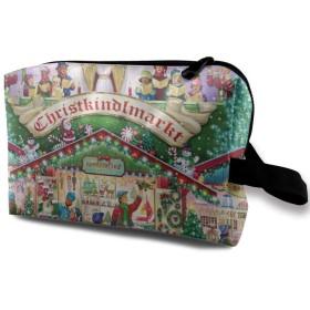 風花 カラフルな図案 クリスマス 化粧バッグ 収納袋 女大容量 化粧品クラッチバッグ 収納 軽量 ウィンドジップ
