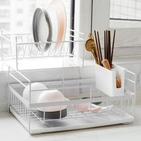 皿乾燥ラック、取り外し可能なカトラリートレイ付き金属皿水切りトレイトレイ防錆カウンター調理器具オーガナイザーホルダー,White
