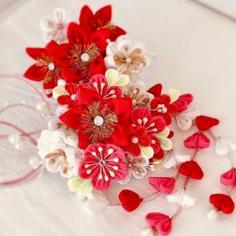 成人式髪飾り 華やか赤&ピンク小花5点セット