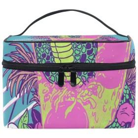 メイクボックス スネークチーズ柄 化粧ポーチ 化粧品 化粧道具 小物入れ メイクブラシバッグ 大容量 旅行用 収納ケース