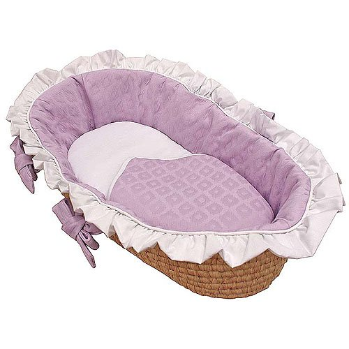Ivory//Blue Baby Doll Bedding Croco Minky Moses Basket