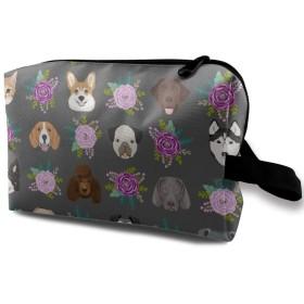 花 犬 ねこ 化粧バッグ 収納袋 女大容量 化粧品クラッチバッグ 収納 軽量 ウィンドジップ