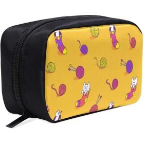 KWESG メイクポーチ ソックス 猫 ボックス コスメ収納 化粧品収納ケース 大容量 収納 化粧品入れ 化粧バッグ 旅行用 メイクブラシバッグ 化粧箱 持ち運び便利 プロ用