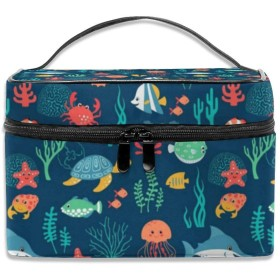 化粧ポーチ海洋 動物 かめ メイクポーチ コスメバッグ 収納 雑貨大容量 小物入れ 旅行用