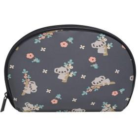 ALAZA コアラの花 半月 化粧品 メイク トイレタリーバッグ ポーチ 旅行ハンディ財布オーガナイザーバッグ