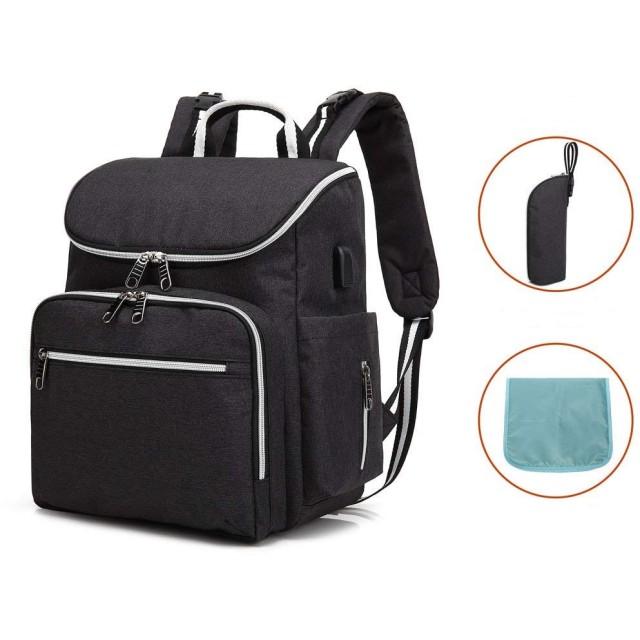 ママバッグ 大容量リュック マザーズバッグ USBポート ベビー用品収納 人気なママ旅行用バッグ 保冷 保温 防水 マザーズリュック 出産祝い 旅行 アウトドア 通勤 通学 保温ポケット付き オムツ替えシート付き ブラック