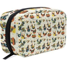 鶏柄 化粧ポーチ メイクポーチ 機能的 大容量 化粧品収納 小物入れ 普段使い 出張 旅行 メイク ブラシ バッグ 化粧バッグ