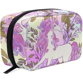 ユニコーン 花柄 化粧ポーチ メイクポーチ 機能的 大容量 化粧品収納 小物入れ 普段使い 出張 旅行 メイク ブラシ バッグ 化粧バッグ