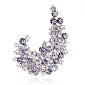 女性のためのSKZKKリーフジュエリーウェディングダイヤモンド中空ドレスピンブローチ、女性のためのカラージュエリースカーフピンシンプルでエレガントなカラフル、パープル