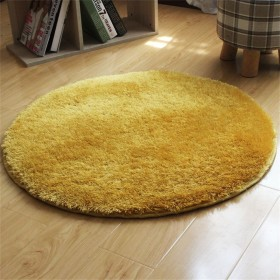 CLAXAM シルク ベルベットラグマット 可愛い丸いサイズ 精美の純色と繊細の縁取り 触るだけで心地がすっきり (60cm, ジンジャーイエロー)