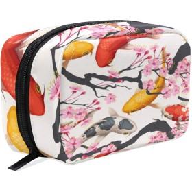 UOOYA おしゃれ 化粧ポーチ 和風 和柄 鯉魚 魚柄 花柄 さくら 軽量 持ち歩き メイクポーチ 人気 小物入れ 収納バッグ 通学 通勤 旅行用 プレゼント用