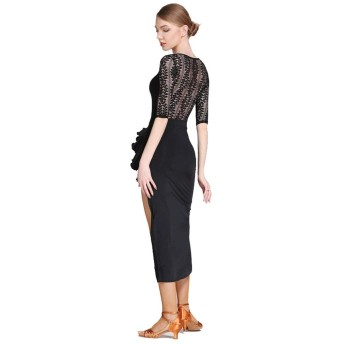 ラテンダンスパフォーマンスドレスシンプルでエレガントな半袖タンゴソーシャルダンス着用練習ダンススカート (Color : Black, Size : XXL)