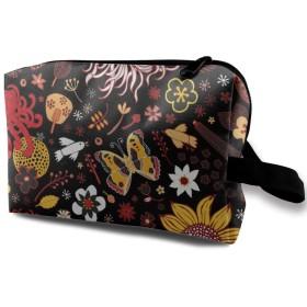 蝶 チョウ 鳥 花柄 化粧バッグ 収納袋 女大容量 化粧品クラッチバッグ 収納 軽量 ウィンドジップ