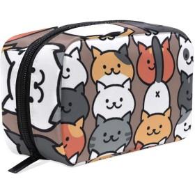 化粧品袋 トイレタリーバッグ 大容量とマルチコンパートメント付き 美容製品 整理用女性女の子用 プレゼント Neko Atsume Cat Pattern