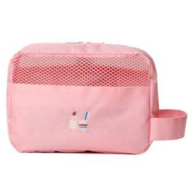化粧品バッグ、ポータブルウォッシュバッグ、大容量トラベルウォッシュバッグ、防水レディースウォッシュバッグ、トイレタリー収納バッグ、グレー、オレンジ、ピンク (Color : Pink)