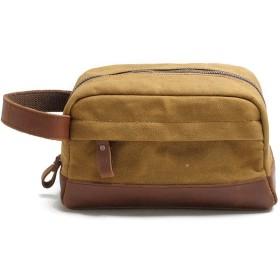 Mai ウォッシュバッグキャンバス化粧バッグレザービジネス旅行ポータブルスーツバッグ - 男性と女性のための4色のサイズのための23x9.5x13cm (色 : イエロー いえろ゜)
