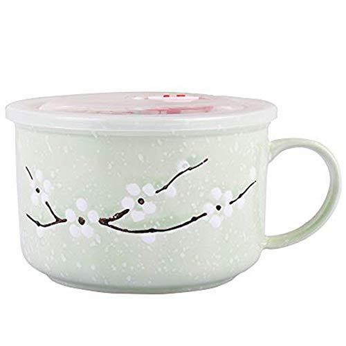 Microwave Soup Noodle Mug//Bowl with Lid and Handle 35.3 OZ Pink Ceramic Bowl for Noodle Porridge Oats