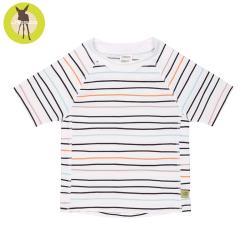 德國Lassig-嬰幼兒抗UV短袖泳裝上衣-線條粉