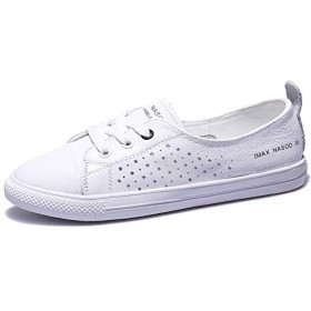 [Ju.Mei.Pin] 小さな白い靴の女性の革の学生浅い口の靴 (ホワイト通気性,23)