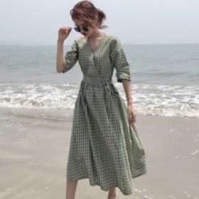 ワンピース ギンガムチェック カシュクール チェック 韓国ファッション オルチャンファッション