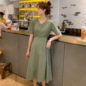 ワンピース ギンガムチェック 春 チェック バックリボン 韓国ファッション オルチャンファッション