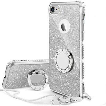 KI¢KI iPhone7plus/iPhone8plus 適応 リング ストラップ付きケース キラキラ かわいい おしゃれ ラインストーン 女性 女子 対応 耐衝撃 シルバー