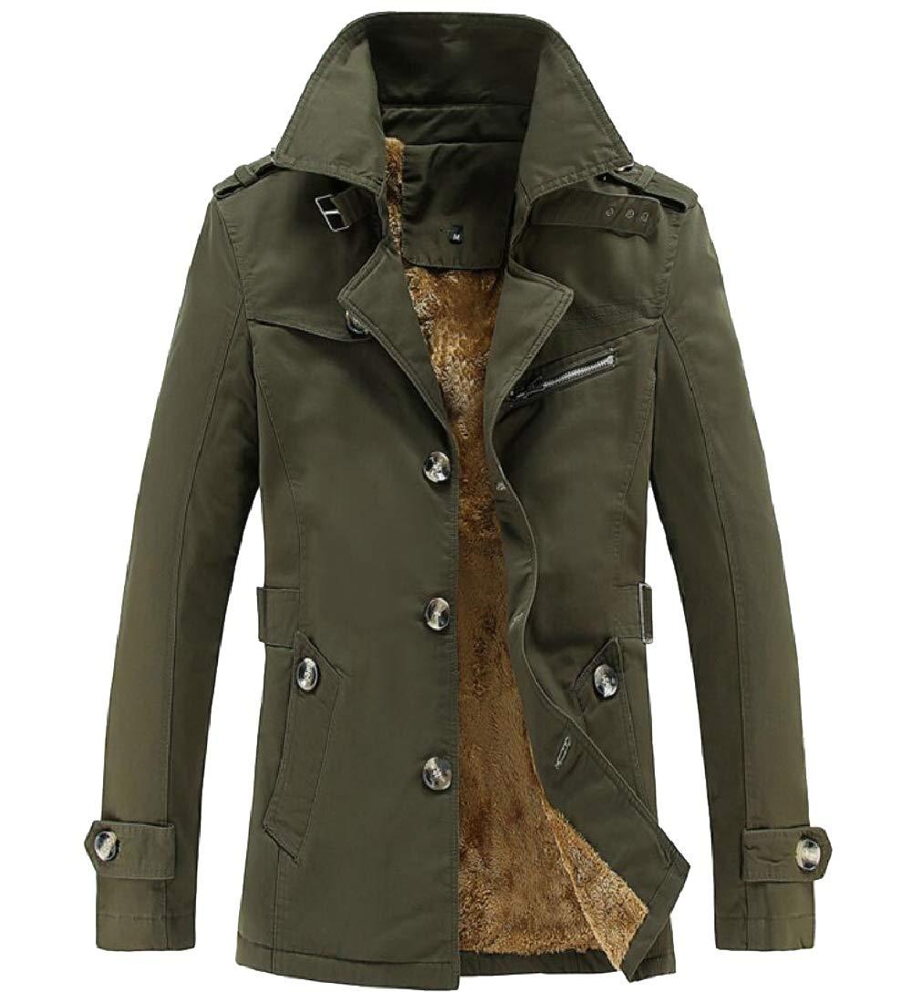 Keaac Men Thicken Wadded Coat Mid-Long Hooded Down Jacket