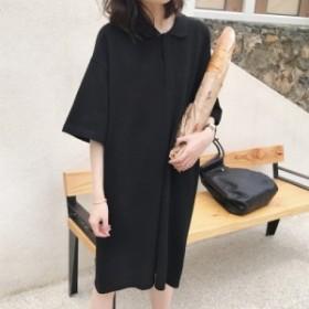 ポロシャツ ワンピース 半袖 ガーリー 無地 シンプル 韓国ファッション オルチャンファッション