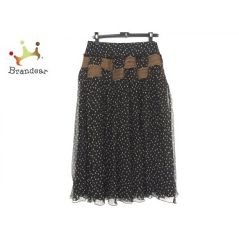 ヒロココシノ ロングスカート サイズ40 M レディース 新品同様 - - 黒×ブラウン シルク/PREMIER 新着 20190911