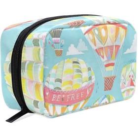 漫画 熱気球 化粧ポーチ メイクポーチ 機能的 大容量 化粧品収納 小物入れ 普段使い 出張 旅行 メイク ブラシ バッグ 化粧バッグ