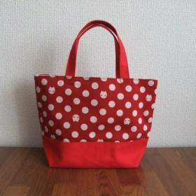 ミニトートバッグ 赤に白い水玉・猫柄