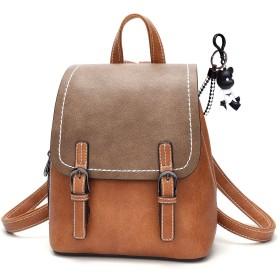DOODOO レディース リュック ミニ バックパック PUレザー ポシェット Mini Rucksack Bag for Women 褐色