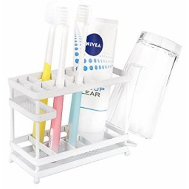 VANRA 歯ブラシスタンド 歯ブラシホルダー 収納ホルダー 化粧品収納 ブラシホルダー 金属製 洗面所用 置き型 (ホワイト)