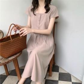 セットアップ ワンピース スクエアネック ミモレ丈 韓国ファッション オルチャンファッション