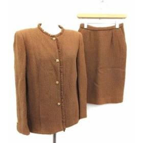 【中古】シャネル CHANEL スーツ セットアップ 上下 ジャケット スカート 38 茶 ブラウン /KH ●D レディース