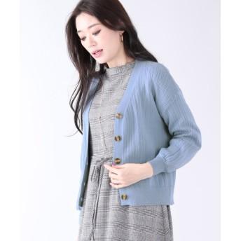 ブルーイースト リブ編みカーディガン レディース ブルー M 【BLUEEAST】