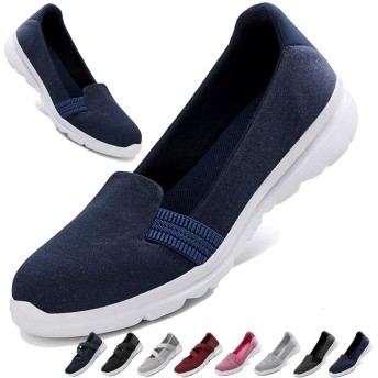 [MISIKEKE] 安全靴 ナースシューズ レディース メンズ スニーカー 超軽量 高齢者シューズ スリッポン 介護シューズ 快適 中高齢者靴 ウォーキングシューズ 看護師 婦人靴 男女兼用 22.5cm-28.0cm、ダークブルー-1、25.5cm