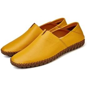 [TNLFM] ビジネスシューズ 防滑 紳士靴 大きいサイズ 天然牛革 カジュアル ビジネス 通勤 歩きやすい 5色展開 黄色 白色 茶色 スリッポン型 ローファー メンズ 20代 大人 男靴 通気性 超軽量シングルシューズ