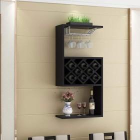LANN 壁掛け木製ワインキャビネット、8ボトルシンプルモダンホームレストランウォールワインラックウォールデコレーションシェルフ (色 : ブラック)