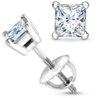 1/2-2カラット総重量プリンセスダイヤモンドスタッドイヤリング 4プロングスクリューバック(G-HカラーVS1-VS2クラリティ)
