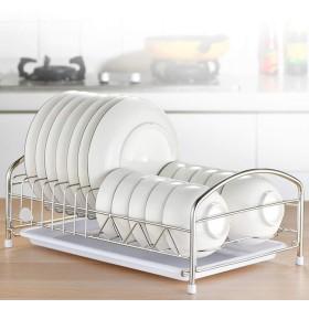 皿の水切りの棚の貯蔵、取り外し可能な皿の単層の刃物のバスケットの反錆が付いている皿の棚 (Color : White, Size : 41x25x16)