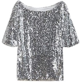 chenshiba-JP Womens Glistening Sequin Cocktail Club Party Top Shimmer Glam Glitter Plus Size T-Shirt Silvery XXS