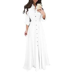 YAXINHE Women Swing V-Neck Button Closure Casual Long Sleeves Long Dress White L