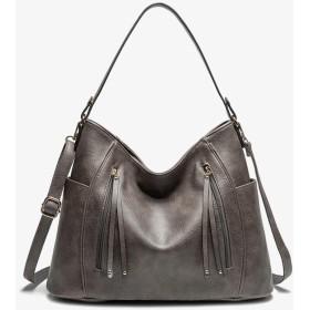 バッグ レディース トートバッグ,ハンドバッグ ショルダーバッグ 3WAY 通勤バッグ 鞄女性用 - A4 大容量 PUレザー 3色 ビジネス 就活 通学 入学式 誕生日 プレゼント (グレー)